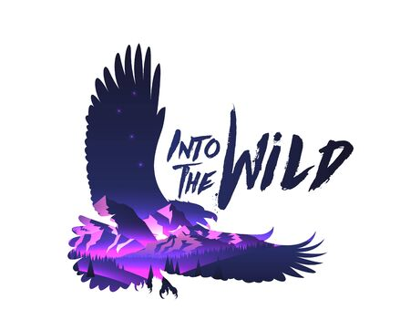 Double exposure effect eagle hawk silhouette with night mountains landscape with into the wild caption. Vector eps 10 illustration. Vettoriali