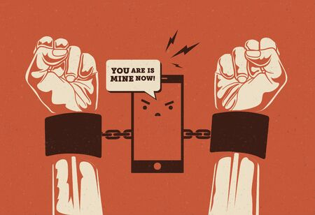 Smartphone addiction. Phone holding hands in cuffs. Conceptual vintage styled vector eps 10 illustration.
