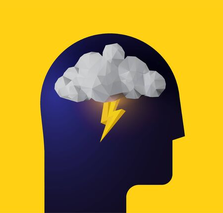 Depression. Panic attack. Bad mood. Humans head silhouette with thunder cloud inside. Vector eps 10 illustration for your psychologist blog article or social media post.