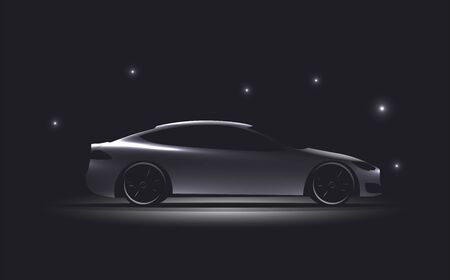 Side view luxury car silhouette on dark background. Glowing electric car silhouette. Vector eps 10 illustration. Vettoriali