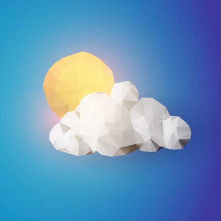 Sun above the cloud. Weather icon. Low poly vector illustration.