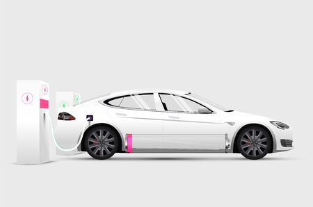 White electric car at charging station with low battery. Isolated realistic white electric car. Vector eps 10 illustration Vettoriali