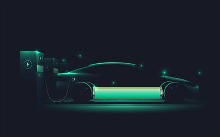 Electric car charging at charge station. Electromobility e-motion concept. Electro car silhouette. Realistic vector eps 10 illustration.