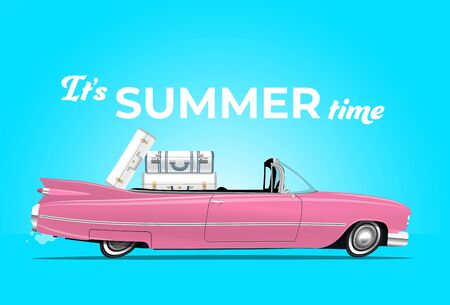 Cartoon styled side view pink vintage car cabriolet with luggage on board, on the beach road. Travel themed vector illustration for your poster, or flyer or banner for your promotion.