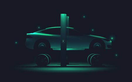 Electric green car repair service concept. Car without tires standing on car lift. Tire service. Vector illustration.