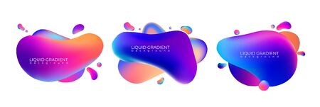 Colorful bright liquid gradient shapes backgrounds set. Template for you banner or promo advertising. Vector illustration. Vettoriali
