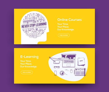 E-Learning web banners design for online courses website or social network page. Vector illustration.