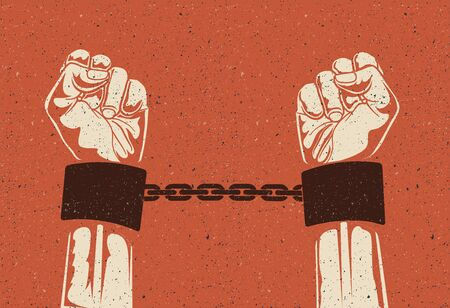 Man hands in strained steel handcuffs. Imprisoned hands in chains. Prisoners hands. Vintage styled vector illustration. Vettoriali