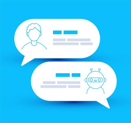 Vector lined modern style vector illustration icon design. Chat bot robot concept, Dialog help service.Cute smiling chat bot is chatting with a person man.