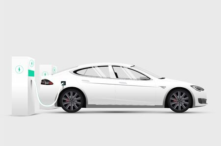 White electric car at stand charging station battery. Isolated side view white electric car. Vector illustration