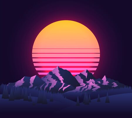 Abstract image of a sunset, the dawn sun over the mountains landscape in the background and trees in the foreground. Vintage futuristic 90s sun. Mountain landscape. Vector illustration.
