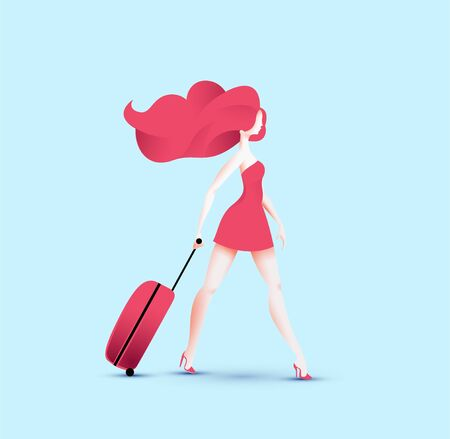 Redhead pretty traveler girl in red dress walking with red travel roller bag. Vector illustration