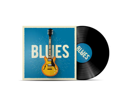 Realistic vinyl disc mockup with blues music cover with classic electric guitar on it. Works for blues rock playlist or album cover. Vector illustration