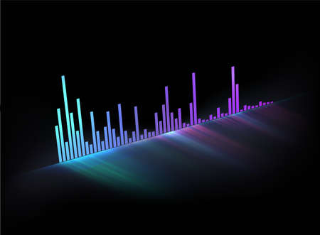Neon glowing music track sound wave. Modern styled musical vector illustration. Template for video cover or poster or any music themed usage.