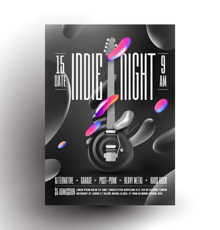 Live indie music night party or concert or rock music festival poster or flyer design template with electric guitar and black and white and some colored liquid shapes. Trendy vector illustration.