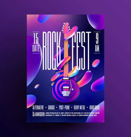 Rock music party or concert or festival or live event poster template. Rock-n-roll party flyer. Vector illustration.