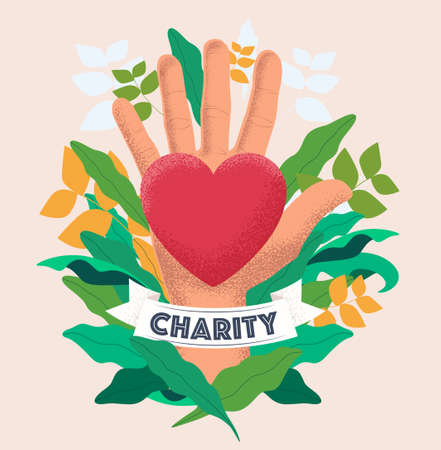 Charity and donation concept with hand palm hold red heart on floral background. Vintage styled vector eps 10 illustration.