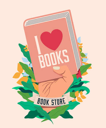 I love books. Book reading concept with raised hand holding book for poster or flyer or banner design for book store or fair or literature festival. Vector eps 10 illustration Ilustración de vector