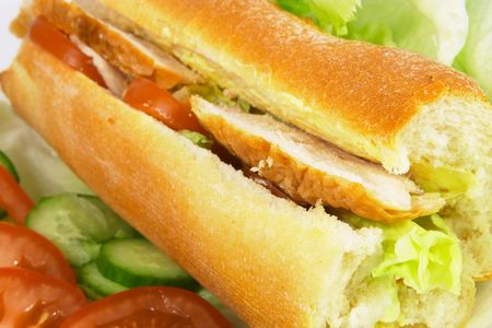 Chicken and salad baguette