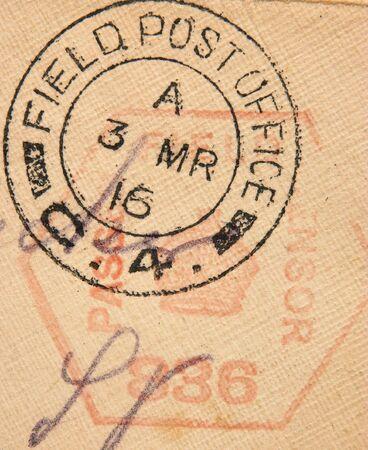 postmark: Ein M�rz 3, 1916, F�ngt britisches Milit�r Postamtpoststempel auf und F�ngt Stempel Zustimmung des Zensors auf. Der Buchstabe wurde zu der Zeit der Schlacht von Verdun im Ersten Weltkrieg bekanntgegeben. Lizenzfreie Bilder