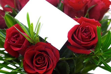 Red roses and a blank gift card. Stock Photo - 262034