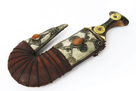 Arab traditional khanjar knife in its sheath