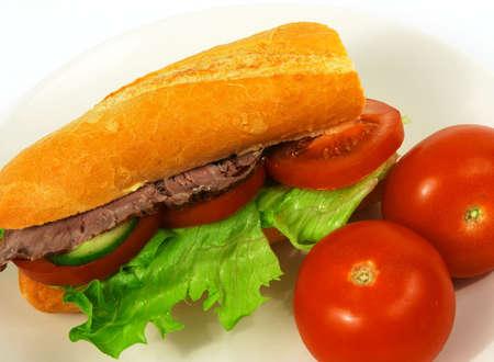 Roast beef salad roll