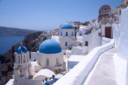 The famous churches at Oia (or Ia) on Santorini. Stock Photo
