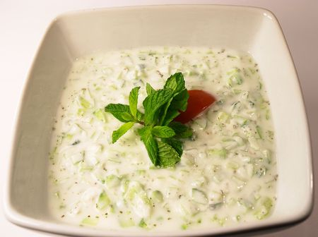 Raita, a traditional Lebanese or Arab cucumber and yoghourt dip.