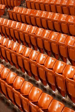Wet seats during a rained-off tennis match in Doha, Qatar Stock Photo - 261969