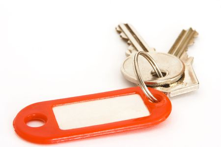 House keys on a ring with a blank tag