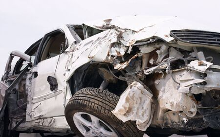 Wreckage of a crashed car Stock Photo