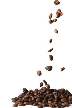 Falling coffee beans