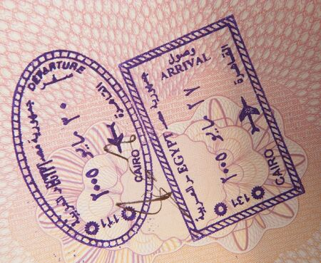 Egyptian entry and exit visa stamps