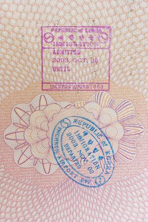 South Korean entry and exit stamps