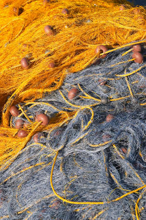 quayside: Fishing nets on the quayside. Stock Photo