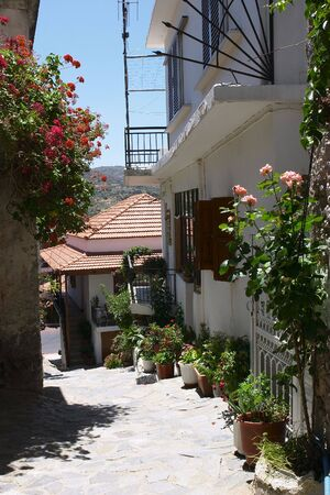 Typical Cretan village lane in Spili. Stock Photo - 266883