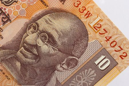 gandhi: Indian 10 Rupee banknote, depicting Mohandas Mahatma Gandhi Stock Photo