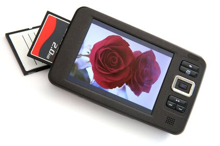 mass storage: A portable music media (MP3) player and mass storage device with a CF card reader