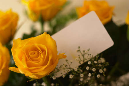tex: A bouquet of yellow roses with a blank gift tag. Focus on the rose.