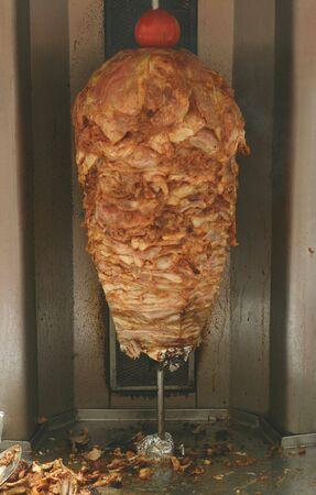 Stick of chicken shwarma, used for making shwarmas - similar to Turkish kebabs or Greek souvlaki
