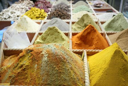 Spices on sale in the old souq in Doha, Qatar, Arabia.