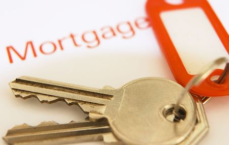Keys on a mortgage document, focus on the keys Stock Photo - 468213
