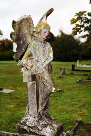 churchyard: Old marble angel in an English churchyard Stock Photo