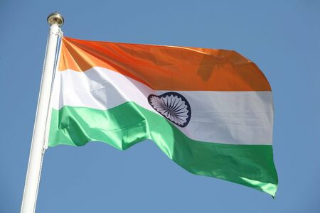 populous: The national flag of the Republic of India, the worlds most populous democracy.