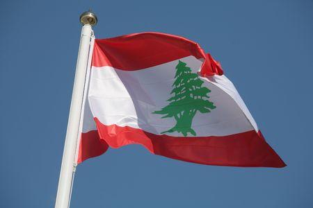 The Lebanese national flag, featuring the famous Cedar of Lebanon photo