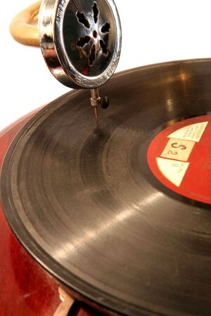 windup: An old 78-rpm record playing on a wind-up gramophone. Stock Photo