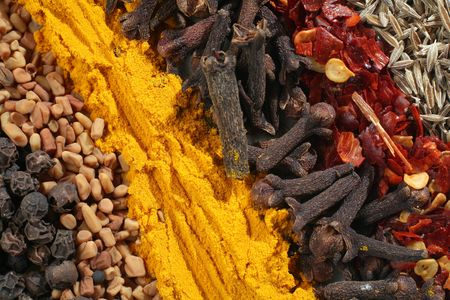 fenugreek: Macro of assorted spices used in curries. From bottom left: peppercorns, fenugreek seeds, ground turmeric, cloves, crushed chillies and cumin seeds. Stock Photo