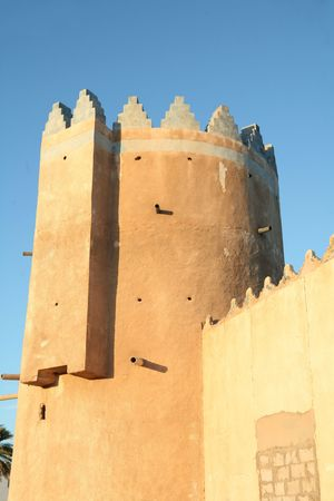 heritage protection: A turret on the old fort in Wakrah, Qatar.