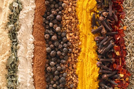 An assortment of spices used in curries.From left: ginger, methi (fenugreek leaves), garlic powder, cinnamon, black pepper, fenugreek seets, turmeric, cloves, crushed chilies, cumin seeds.